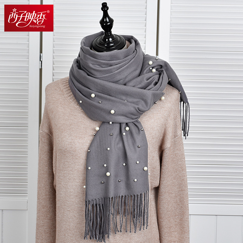 Solid Color New 2018 Winter Women Scarf With Tassels Long Fashionable Stylish Scarf Ladies Shawls Pearls Scarves Warm Pashmina