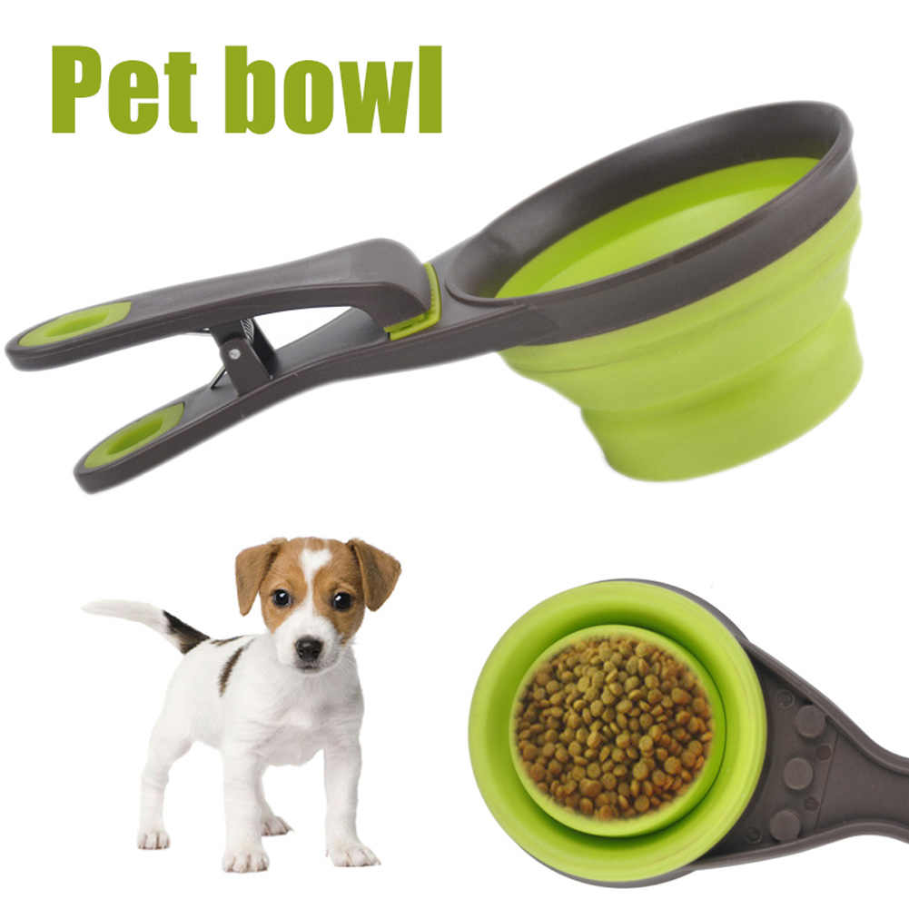 Collapsible Folding Silicone Sealing Clip Measuring Cup Food Scoop for Pets Dogs Multifunctional pet food spoon bowl BDF99