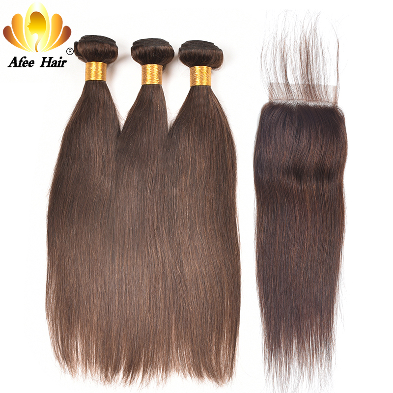 Ali Afee Hair #2 #4 Colored Bundles With Closure 4*4 Brazilian Straight Hair Weave Bundles With Closure 100% Human Hair NonRemy