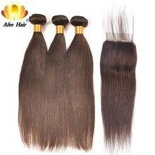 Pelo Ali Afee #2 #4 paquetes de colores con cierre 4*4 paquetes de pelo lacio brasileño con cierre 100% cabello humano no Remy