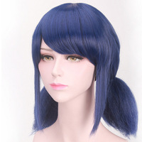 Coshome Miraculous Ladybug Wigs Peluca Marinette Girls Women Cosplay Double Ponytail Braids Short Straight Wig Blue