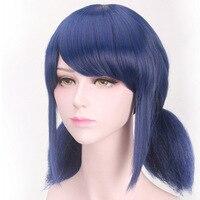 Coshome Miraculous Ladybug Wigs Peluca Marinette Girls Women Cosplay Double Ponytail Braids Short Straight Wig Blue