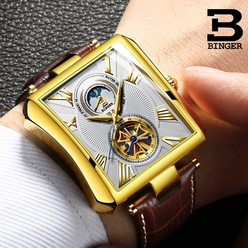 Vintage Rectangle Tourbillon Mens Watches Casual Mechanical Watches Men Top Brand Luxury Automatic Self-Wind Waterproof Clock