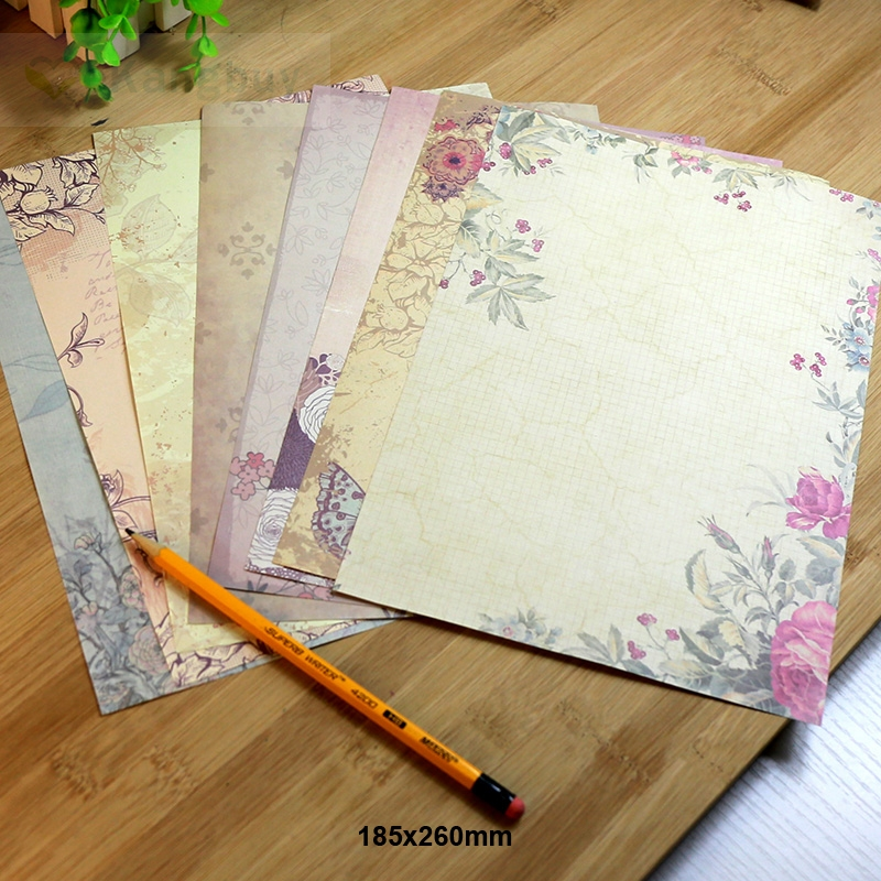 80sheets Retro European Style Letter Paper 8 Patterns Romantic Vintage Love letter Greetings Writing Paper