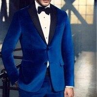 NoEnName Null High Quality Royal Blue Velvet Man Blazer 2017 Groom Men Suit Tuxedos Mens Prom