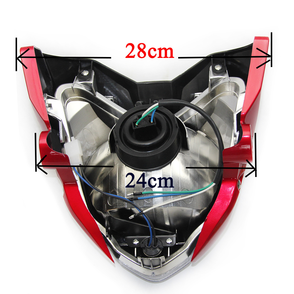 Envío gratis ZSDTRP Negro Rojo Azul gris Motocicleta faro luz faro - Accesorios y repuestos para motocicletas - foto 3
