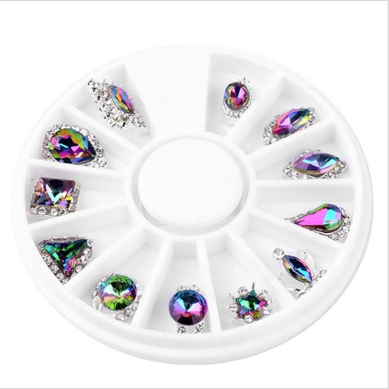Moda Mezcla de alto grado 12 Diseño Cristal de aleación Crystal - Arte de uñas - foto 3