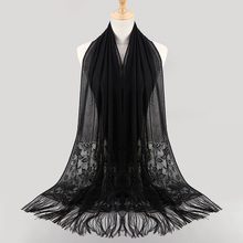 popular Wrap Shawls Fringe Long Pashmina Women Fashion Shawl Scarf Mujer Bufanda Hollow Out Lace Muslim Hijab Scarf Big Size