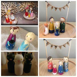 Image 5 - Peg doll lot de 40pc bois famille poupée jouets (43mm/55mm) inachevé non peint mariages gâteau poupée jardin chambre décor à la main