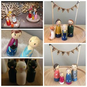 Image 5 - peg doll set of 40pc wood Family doll toys(43mm/55mm) unfinished unpainted Weddings Cake Doll Garden room Decor Handmade