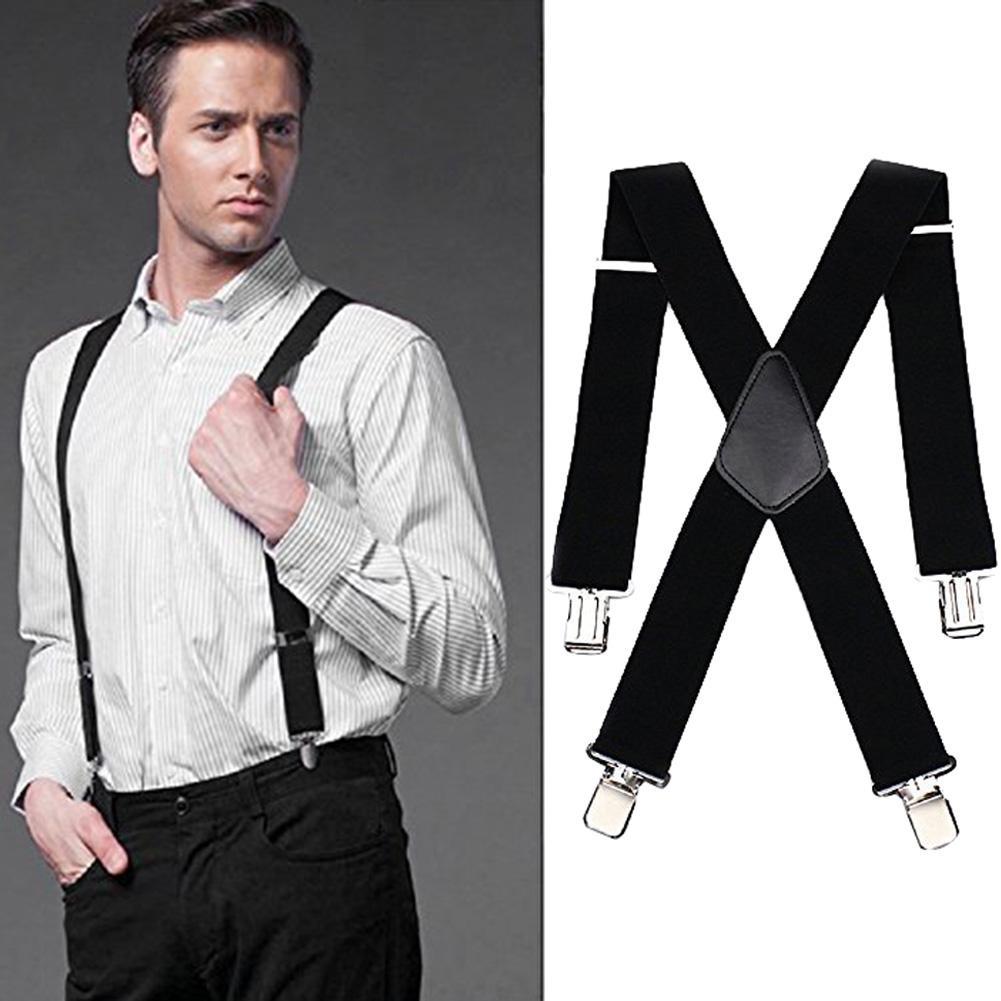 Adjustable Men's Elastic Clip-on X-Back Suspender Pants Wide Band Braces Strap