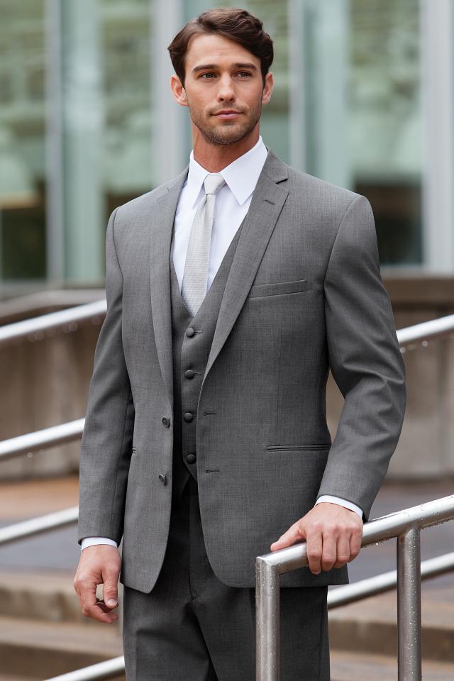 Men suits slim fit peak Lapel groom suit grey Wedding suits Men ...
