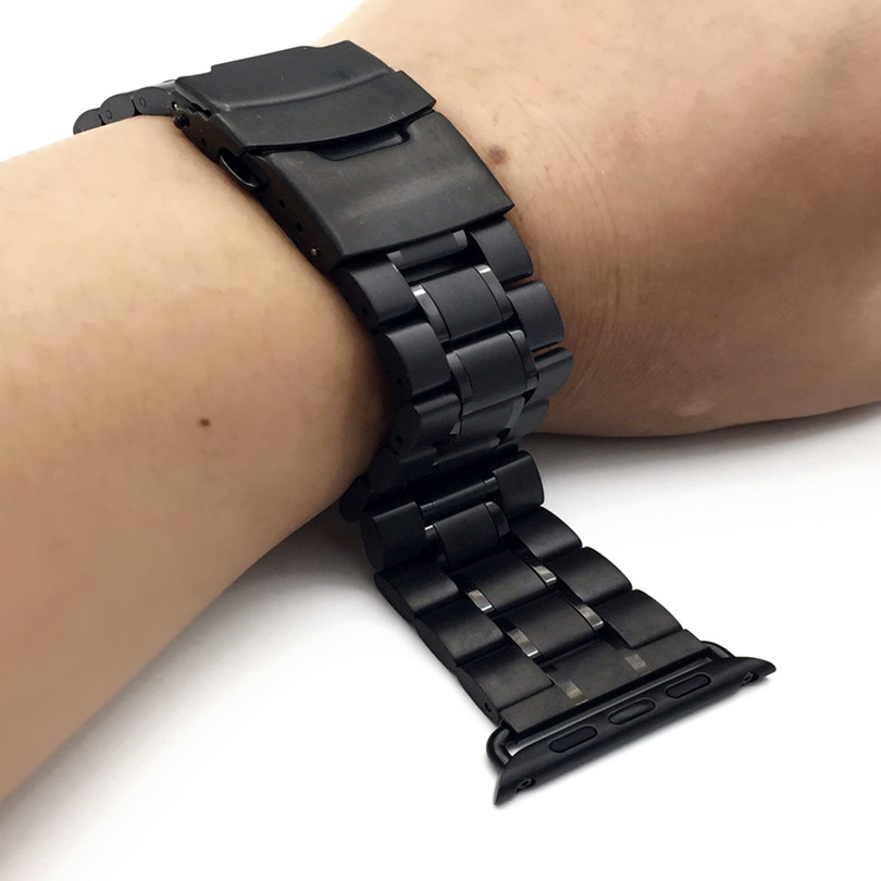 Stainless Steel soild Watch Band For iWatch Apple Strap Link Bracelet Watches Accessories 38mm 42mm Lock with Adapte