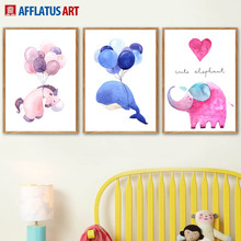 Unicorn Elephant Balloon Wall Art Canvas Painting Watercolor Nordic Posters And Prints Cartoon Pictures For Kids Room Decor