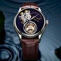 Оригинальные высококачественные автоматические механические часы  мужские водонепроницаемые часы из кожи  модный подарок  часы