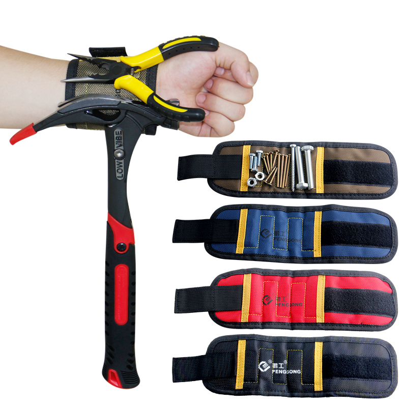 Magnetic Wristband 290mm With 5pcs Strong Magnets Oxford Cloth Pocket Tool Electrician Tools Bag For Holding Screws