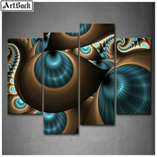 5d diy diamond painting abstract landscape full square flower embroidery 3d rhinestone mosaic wall 1 set 4pcs