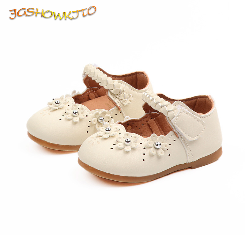 JGSHOWKITO Fashion Princess Sweet Baby Toddler Girls Shoes Kids Leather Shoes With Flowers Cute Soft Children Flats Mary Janes