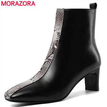 MORAZORA 2020 hot sale ankle boots for women genuine leather snake zip high heels boots fashion autumn dress party shoes woman