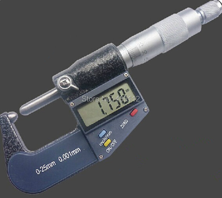 Free shipping 0-1 (0-25mm) LCD 3-key digital electronic round head wall thickness Micrometer gauge 1 outside micrometer free shipping ip65 digital micrometer 0 25mm 0 001mm waterproof micron outside micrometer electronic digital readout micrometer
