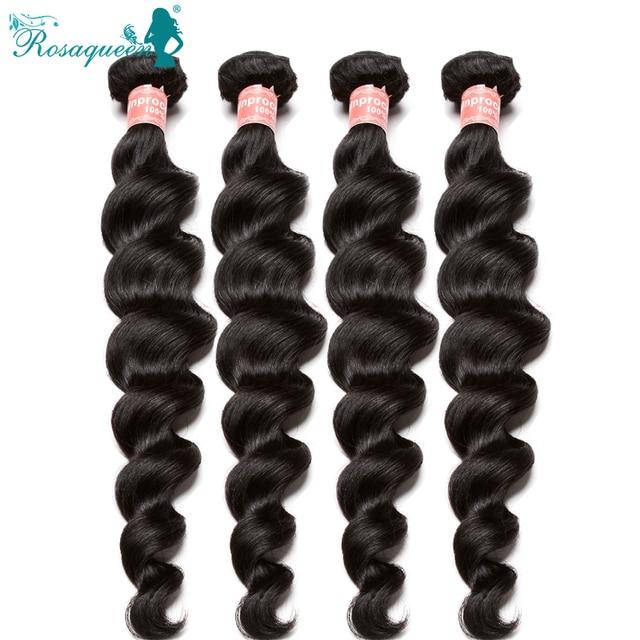 Unprocessed 8A Grade Brazilian Virgin Hair 4 Pcs Mink Brazilian Loose Wave Human Hair Weave Bundles Rosa Queen Hair Products