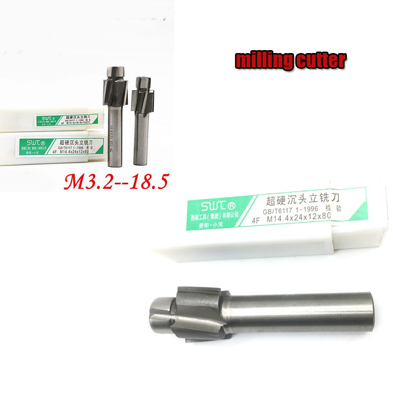 HSS Counterbore End Mill M3.2-M12.4 Pilot Slotting Tool Milling Cutter With Abrasion Resistance M3 M4 M5 M6 M8 M10