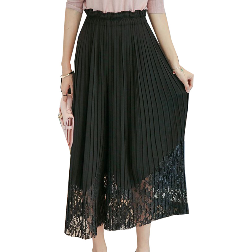 New Spring Summer Chiffon Spliced Lace Wide Leg Pants Women OL Pleated Chiffon Trousers Elegant High Waist Female Leggings Mw197 2