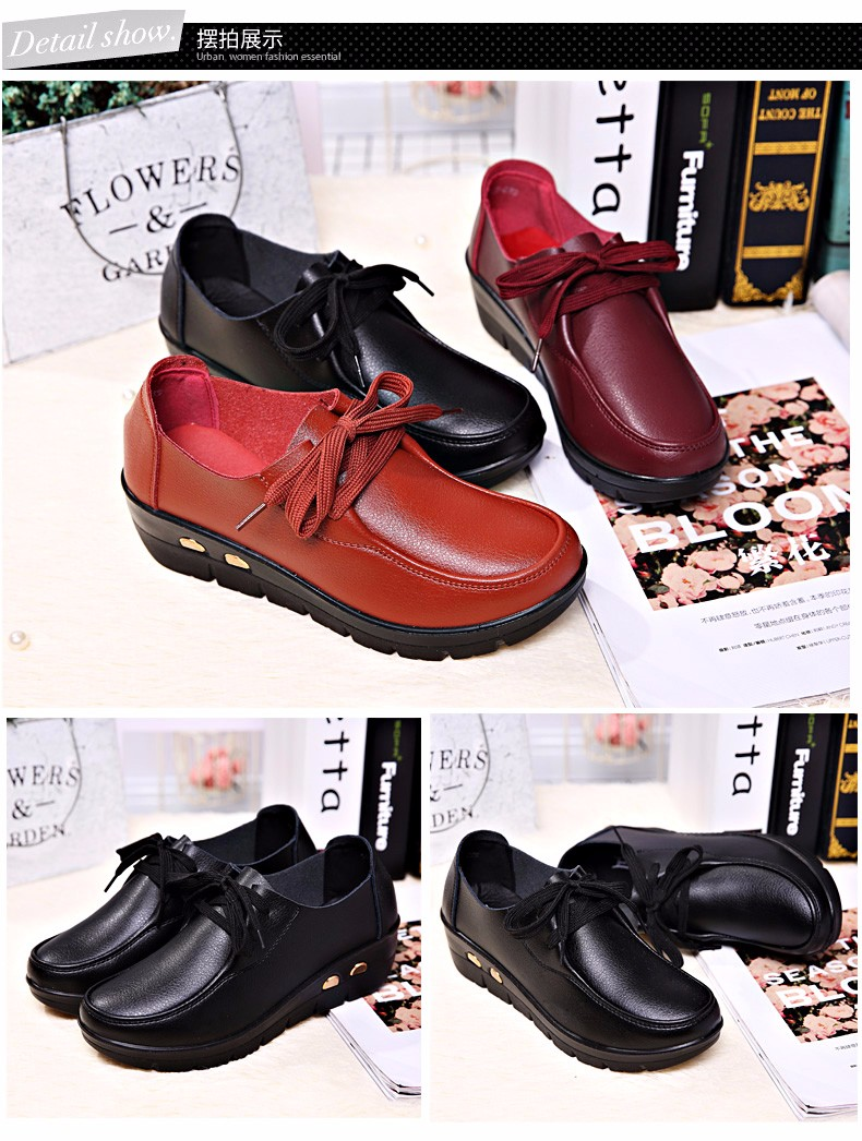 Women Oxfords Leather Shoes New Arrival Round Toe Lace Up Casual Women Flats Size 35-41 Flat Heels Platform Ladies Shoes NX27 (11)