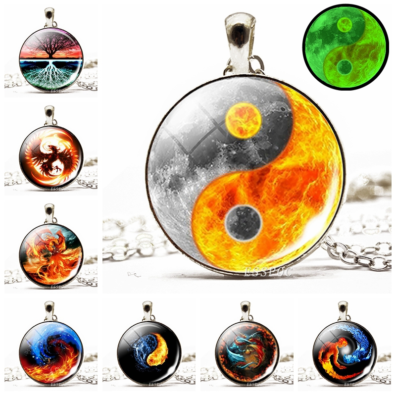 Glowing Yin Yang Necklace Phoenix Glass Dome Pendant Tree of…