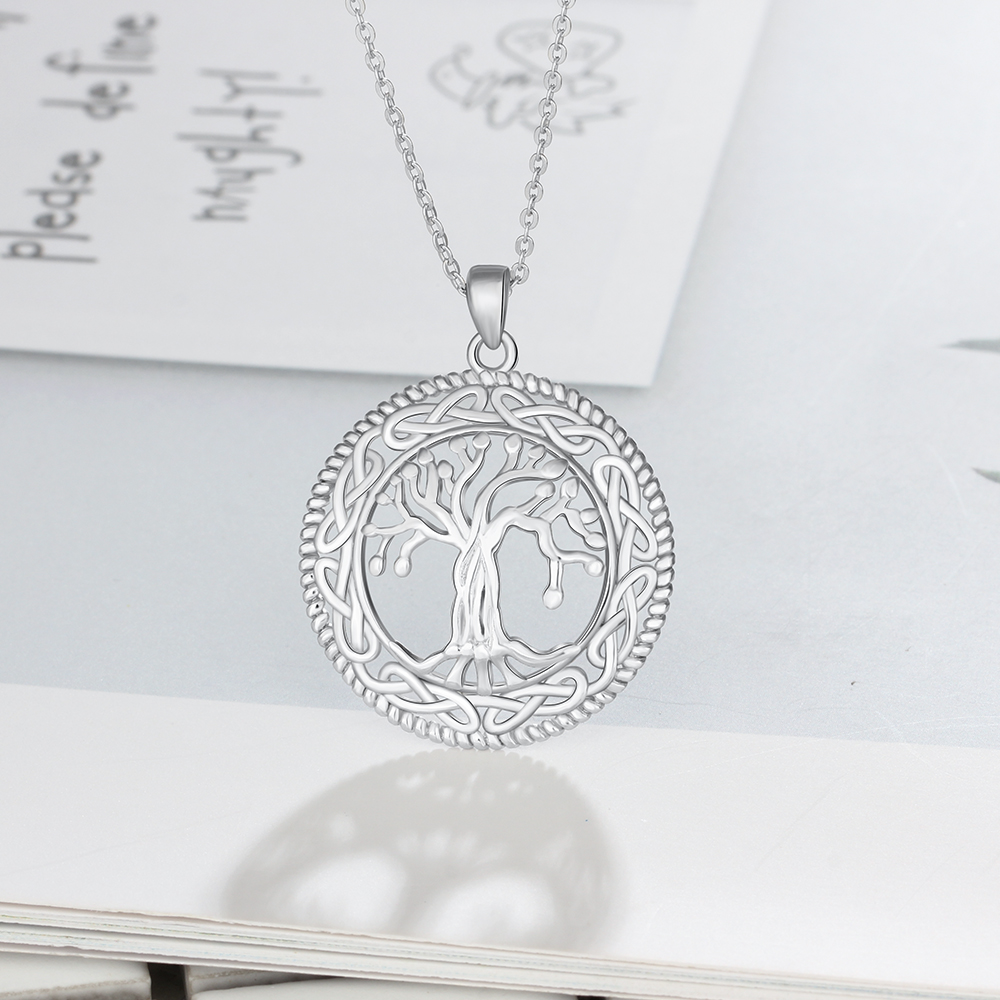 Tree of Life Round 925 Sterling Silver Necklace Pendant for Women