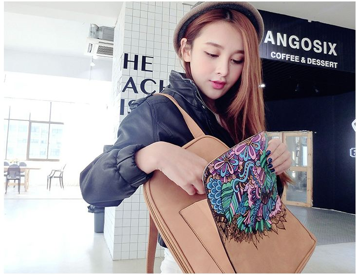 Women s backpack Charm PU leather Brown fashion lady backpacks New Hand Rucksack large capacity bag