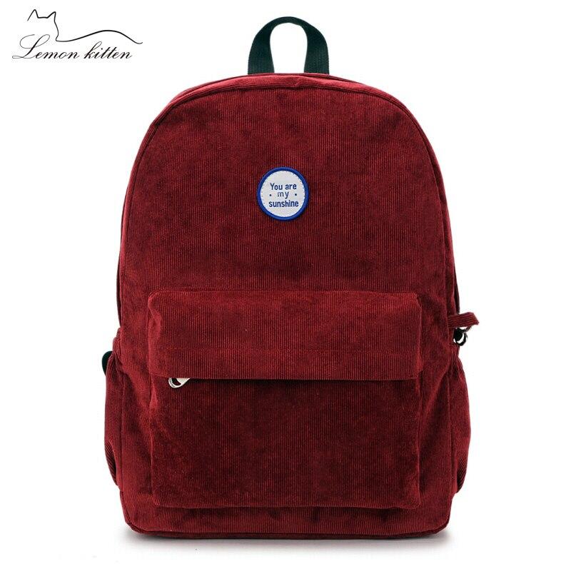 2019 Retro Velvet School Backpack For Girl Simple Design Minimalist Wom