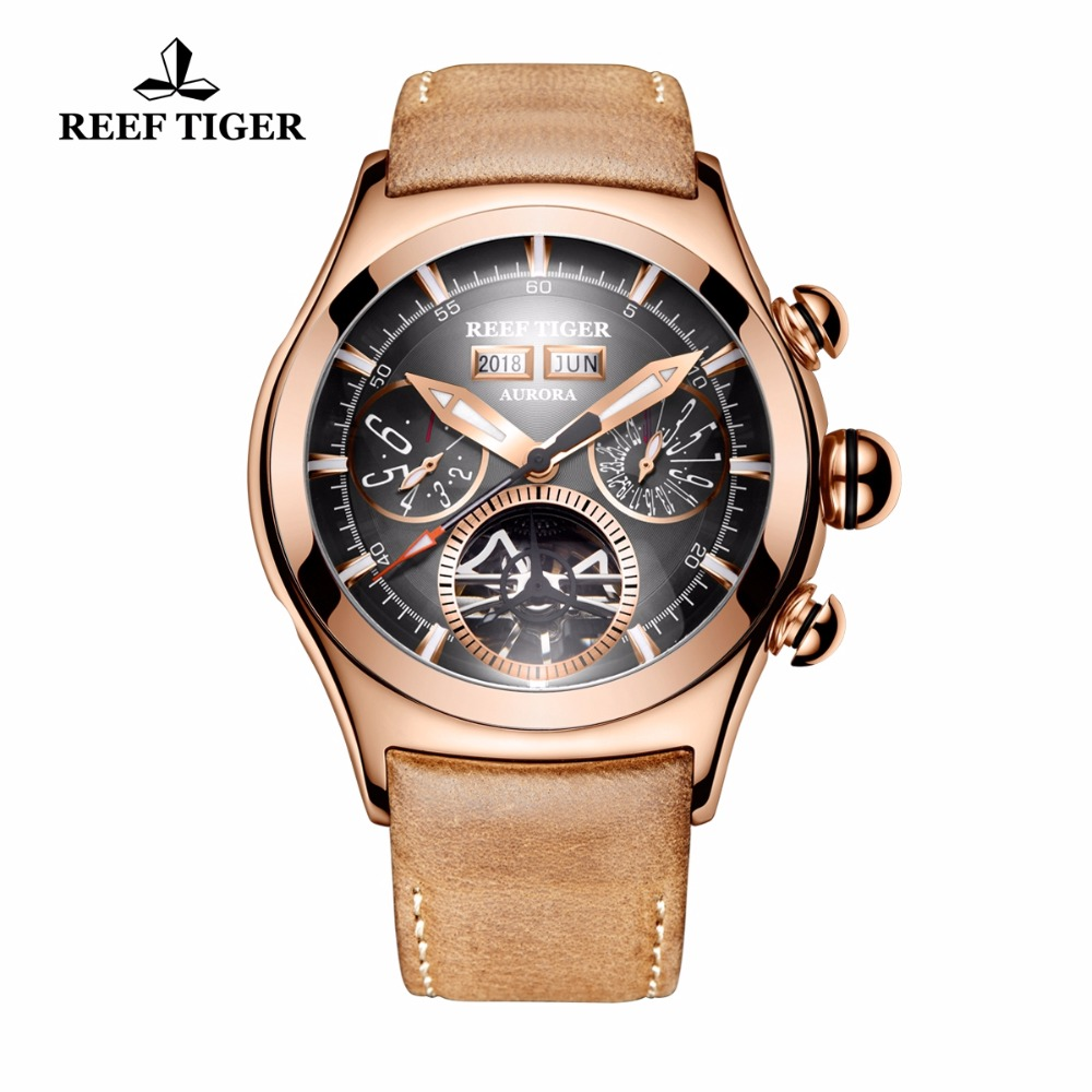 Reef Tiger/RT Luxury Brand Automatic Watches for Men Rose Gold Luminous Tourbillon Watches Genuine Leather Strap RGA7503