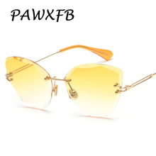 Pop Age 2018 New Rimless Sunglasses Women Men Brand Designer Cat Eye Crystal Ladies Sun glasses Eyeglasses Lunettes de soleil