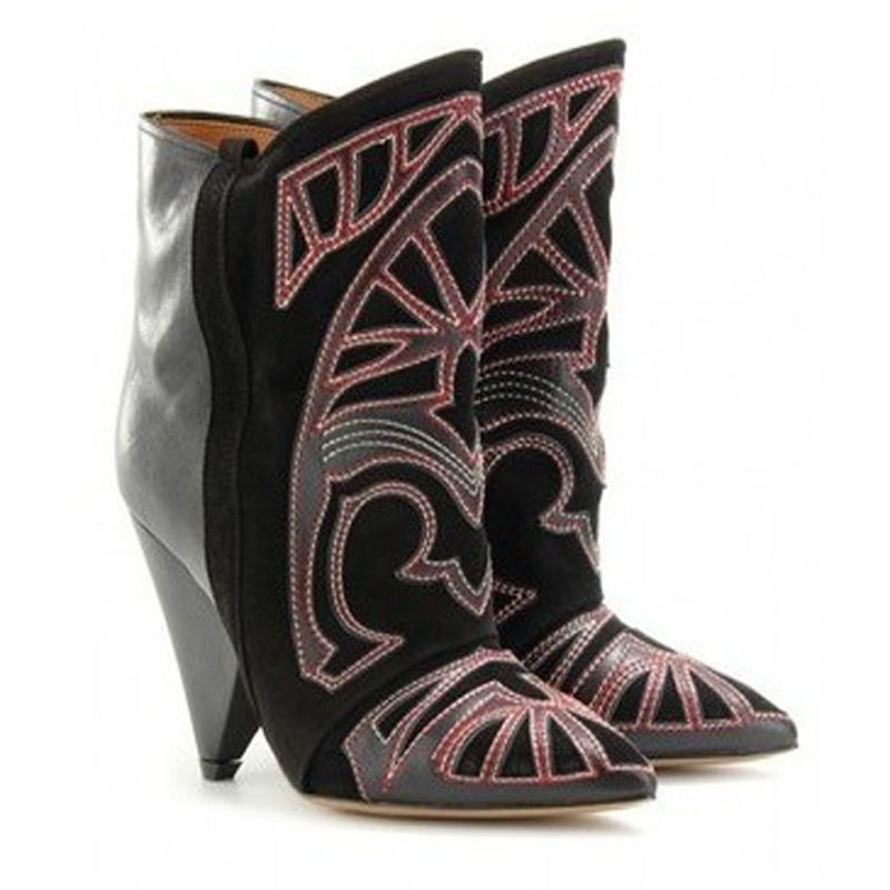 Newest Fashion Design Suede Leather Ankle Boots Pointed Toe Patchwork Printed Spike High Heels Unique Sexy Women Boots