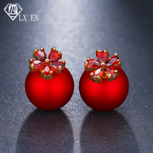 Exqusitive Red Simulated Pearl Earrings For Women Small Double Stud Earrings for Girl Flower Zircon Earrings brinco Jewelry стоимость