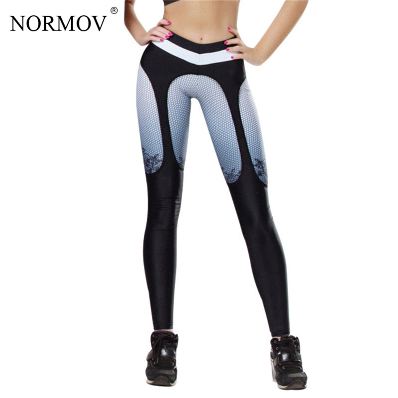 NORMOV Fashion Printed Patchwork Leggings Women High Waist Fitness Legging Gothic Digital Printing Leggins Women Workout Legging