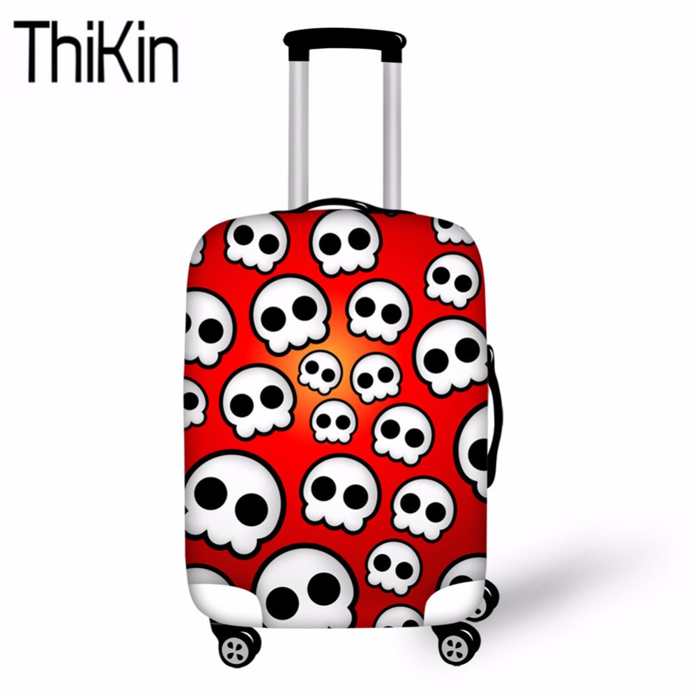 THIKIN Travel Suitcase Protective Cover Skull Printing Travel Accessories For 18-30 Inch Suitcase Protective Cover Trolley Cover