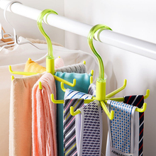 Generous and simple and convenient all-round rotatable plastic hook Octopussy versatile tie rack scarves rack