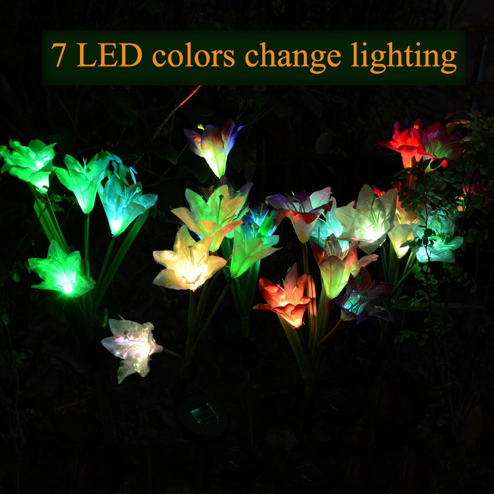solar led lilie blume licht farbwechsel energiesparende rasen lampen