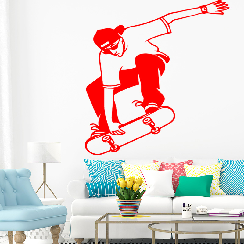 US $2.38 13% OFF|Funny Skateboard Design Wall Sticker for Home Decor Living  Room Decoration Boys Bedroom Accessories Wall Decal Remvoable Decor-in ...