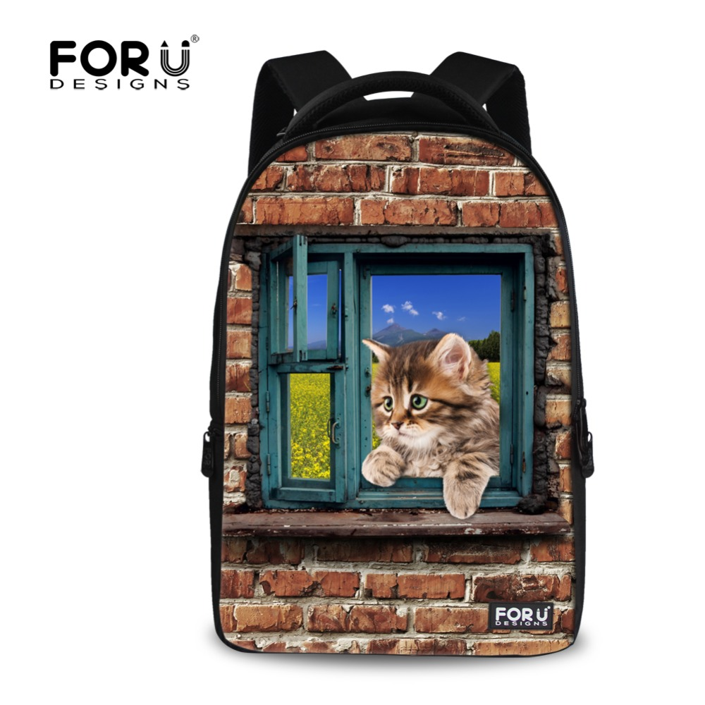 Large 17 inch Student Laptop Backpack Animal Cute Cat Dog Printing High Teenager Girls School Backpacks