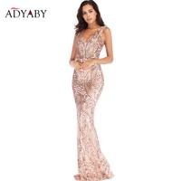 Fashion Mopping Women's Sexy Deep V neck Dress Magical Sequins Long Dress Halter Evening Party Dinner Female 2019 Dress