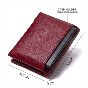 Image 2 - Contacts Genuine Leather Fashion Short Wallet Women Zipper mini Rfid Coin Purse Mini card holder Wallets for women women portfel