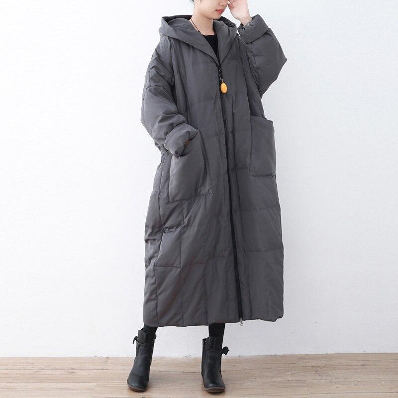 Johnature Women สีทึบลงเสื้อโค้ท Hooded วินเทจ 2019 ฤดูหนาวใหม่ Plus ขนาดเสื้อผ้าผู้หญิงกระเป๋าคุณภาพสูง Coats-ใน เสื้อโค้ทดาวน์ จาก เสื้อผ้าสตรี บน   2