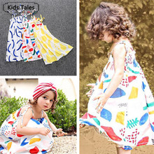 SQ244 маленьких платье для девочек Лето 2018 детское платье Одежда для девочек красочные граффити платье с принтом для девочек платье fille enfant