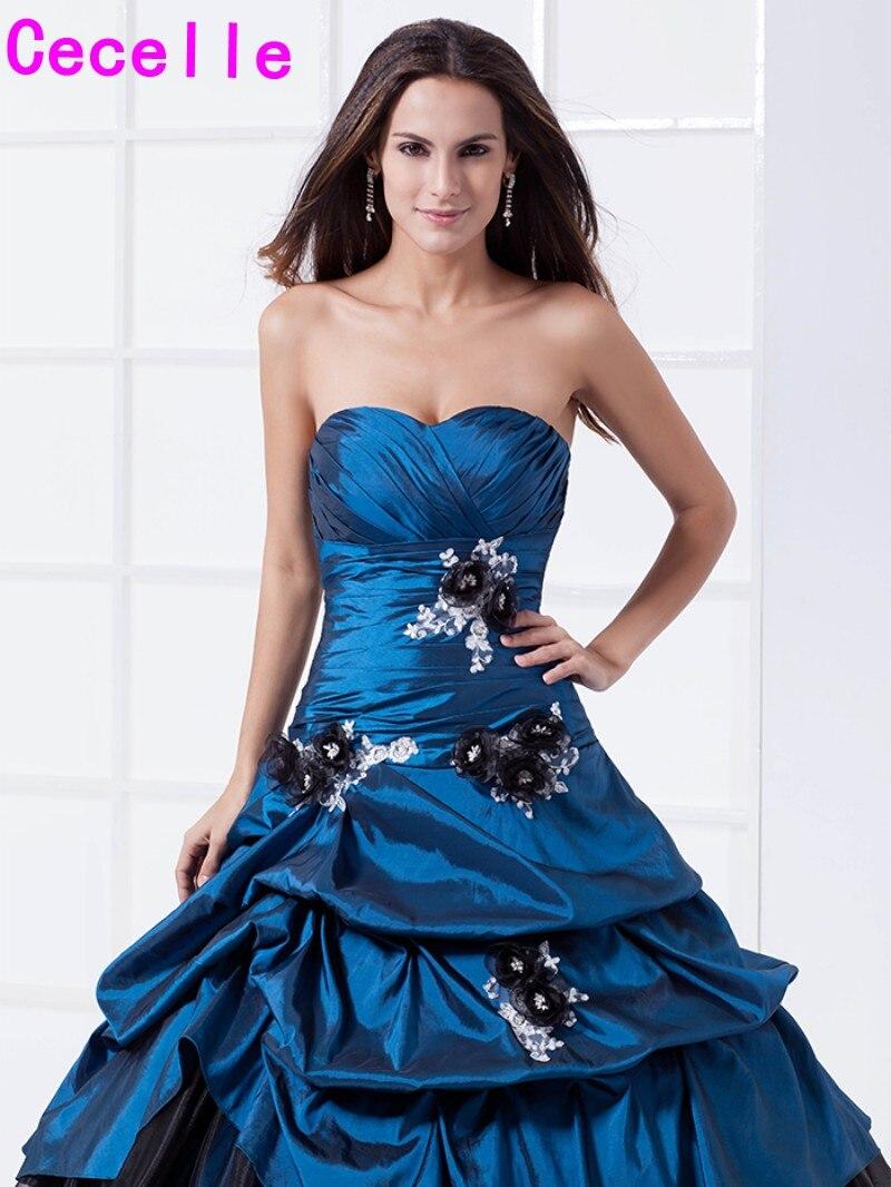Zwei Töne Königsblau Schwarz Ballkleid Quinceanera Kleider Vintage ...