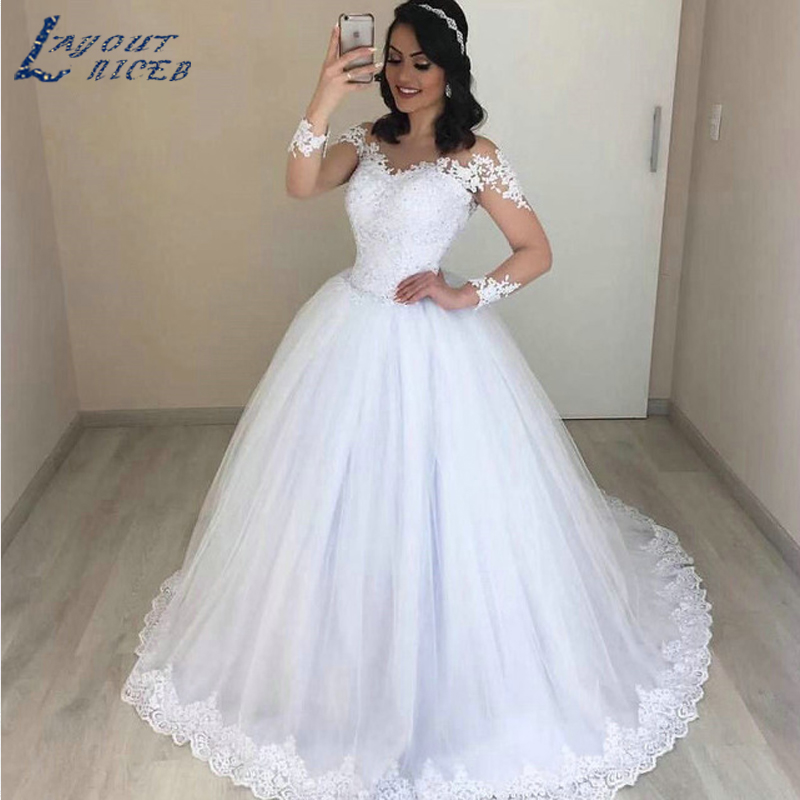 Long Sleeve V Neck Wedding Gown: YQS027 Romantic Ball Gown Wedding Dress Long Sleeve V Neck