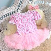 ファッションベビーロンパース2ピースあたりセットピンク高貴な花プリント赤ちゃんの女の子チュチュドレスカチューシャ用0-12months送料無料