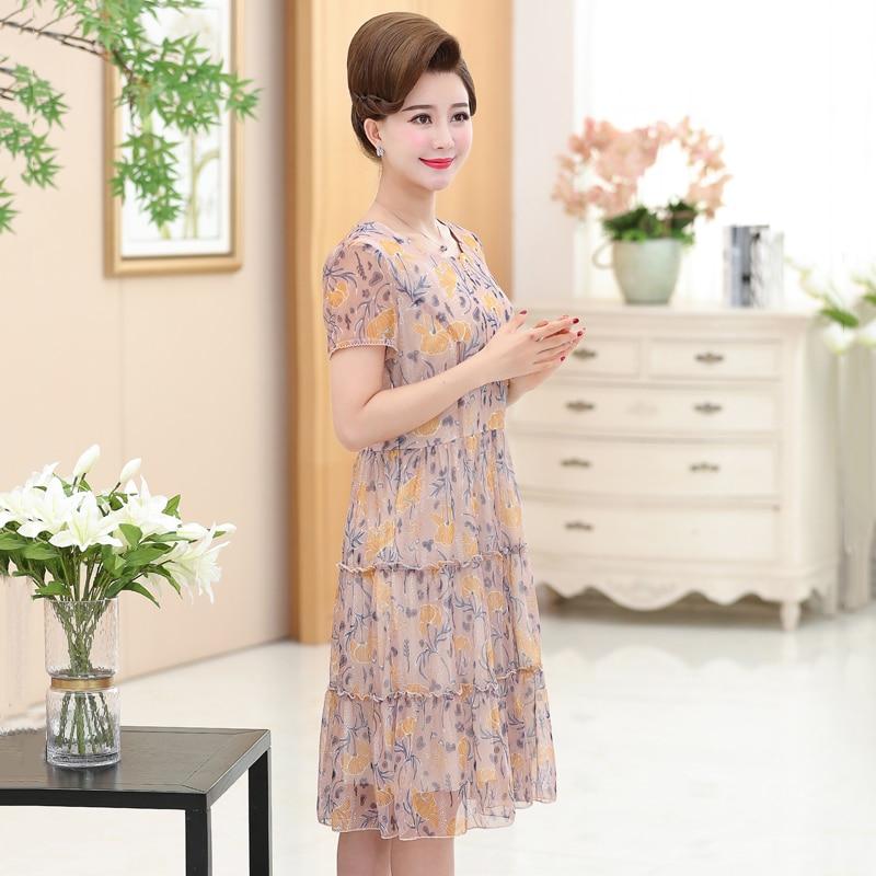 5d6d4d4921f77 Aliexpress.com : Buy NIFULLAN Women Casual Floral Chiffon Dresses Summer  Short Sleeve High Waist Zipper Long Dress 5XL Plus Size Mother Vestidos  from ...